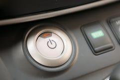 Начните кнопку двигателя в электротранспорте Стоковое фото RF