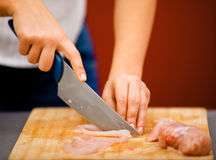 начните мясо вырезывания Стоковая Фотография RF