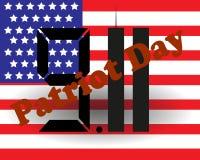 9 11 нашивка американского флага дня патриота Шаблон плаката также вектор иллюстрации притяжки corel Стоковые Изображения