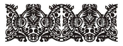 Нашивка декора с черным флористическим орнаментом Стоковые Изображения
