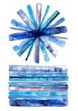 Нашивки акварели, перекрывая текстуры акварели, покрасили декоративную картину, формы акварели абстрактные и геометрические Стоковая Фотография