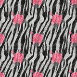 Нашивки зебры с картиной цветков красной розы безшовной Печать зебры, шкура, нашивки тигра, абстрактная картина, линия предпосылк иллюстрация штока