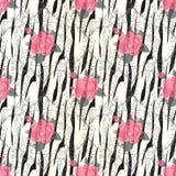 Нашивки зебры с картиной цветков красной розы безшовной Печать зебры, шкура, нашивки тигра, абстрактная картина, линия предпосылк бесплатная иллюстрация