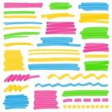 Нашивки цвета Highlighter, ходы и элементы дизайна маркировки Стоковые Изображения RF