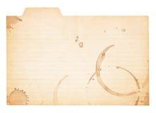 Нашитая годом сбора винограда карточка индекса с пятнами кофе Стоковые Изображения