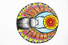 На белой предпосылке, яркие и красочные цвета покрасили черного жука вызванный скарабеем бесплатная иллюстрация