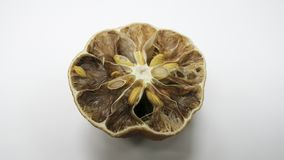 На белой таблице, внутренность лимона тухла и высушена стоковое фото