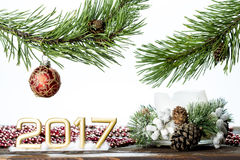 2017 на белой предпосылке с ветвью дерева и украшений на Новый Год Стоковая Фотография RF