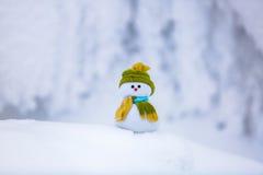 На белом пушистом текстурированном снеговике Стоковые Изображения