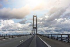На большом мосте пояса, Дания стоковое изображение rf