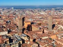 Над взглядом средневекового города болонья Стоковые Изображения RF