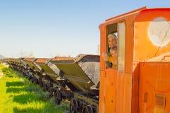 На винтажном поезде Стоковые Изображения