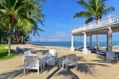 На воздухе столовая тропического пляжного комплекса Стоковое фото RF