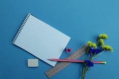На голубой поверхности таблицы канцелярские принадлежности Концепция образования стоковые фотографии rf