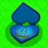 На голубой подарочной коробке в форме растра искусства шипучки сердца ретро Имитация стиля комиксов Зеленый цвет ювелирных издели Иллюстрация штока