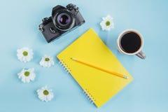 На голубом карандаше тетради предпосылки, правителе и белых цветках Стоковые Фото