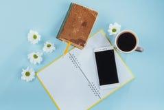 На голубом карандаше тетради предпосылки, правителе и белых цветках Стоковое Фото