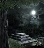Надгробная плита в торжестве хеллоуина на предпосылке Стоковая Фотография