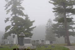 Надгробные камни в тумане Стоковое Фото