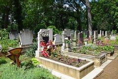 Надгробные плиты в кладбище стоковое изображение rf