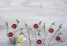 На деревянной предпосылке ветви березы с blossoming бутонами зеленых бутонов и красного печенья чашка чаю с лимоном Стоковые Изображения