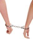 Надеванные наручники мужчина и женщина Стоковое Фото