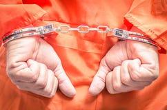 Надеванные наручники руки Стоковое Изображение