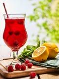 На деревянном лед - холодное стекло напитка с коктеилем поленики Стоковая Фотография