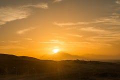 над заходом солнца Сахары Стоковые Изображения RF