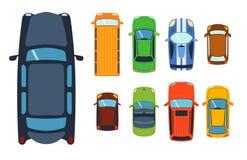 Надземное взгляд сверху на переходе автомобиля приемистости красочных игрушек автомобиля различном и транспорт колеса собрания ко Стоковое Изображение
