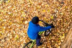 Надземное фото мальчика едет велосипед в парке осени Стоковые Изображения