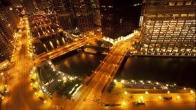 Надземный взгляд городского Чикаго - промежуток времени видеоматериал