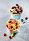 Надземный взгляд красочных чашек замороженного десерта стоковые изображения rf