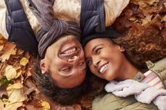 Надземный портрет пар лежа в листьях осени Стоковое фото RF