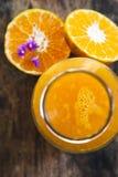 над изолированной белизной взгляда tangerine сока Стоковое Фото
