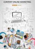 На линии концепции маркетинга с стилем дизайна Doodle Стоковые Изображения RF