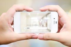 На линии покупках на умном экране телефона, дело, электронная коммерция, ба иллюстрация штока