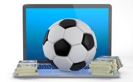 На линии футболе держа пари концепция Стоковое фото RF