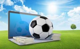 На линии футболе держа пари концепция Стоковое Фото