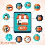 На-линия ходя по магазинам infographic предпосылка Стоковые Изображения