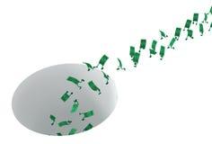 Наличные деньги в реальном маштабе времени, падают вниз отверстие Стоковое фото RF