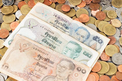 Наличные деньги на монетках, валюта Стоковая Фотография RF