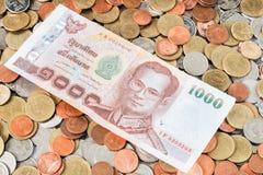 Наличные деньги на монетках, валюта Стоковая Фотография