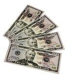 Наличные деньги США на белизне Стоковая Фотография