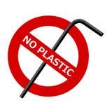 На красном предупредительном знаке, пересеченной-вне пластиковой трубке и тексте: ОТСУТСТВИЕ ПЛАСТМАССЫ иллюстрация штока
