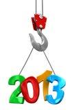 2013 на крюке крана   (включенный путь клиппирования) Иллюстрация штока