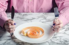 На ленте пустой плиты измеряя Концепция потери веса Стоковая Фотография