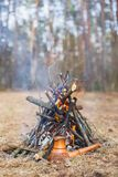 На лесе кола весной, бак турецкого кофе глины нагрет против травы стоковое фото rf