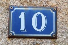 10 на номерном знаке дома Стоковые Фото