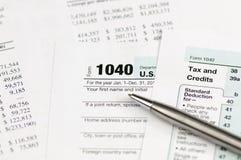 налоговая форма 1040 подоходного налога Стоковое Изображение